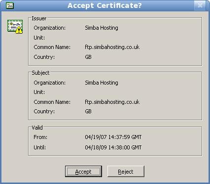 Image: CuteFTP - Accept Certificate