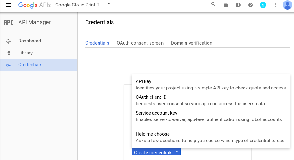 Creating OAuth credentials