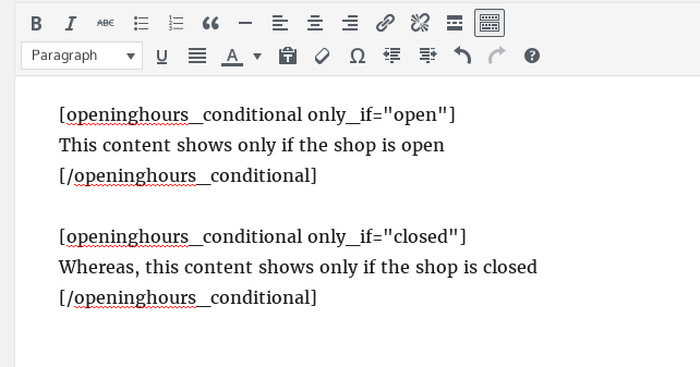 Conditional shortcodes