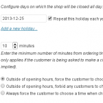 Configuring holidays and what to do when closed
