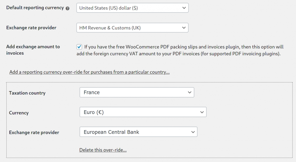 Multiple reporting currencies