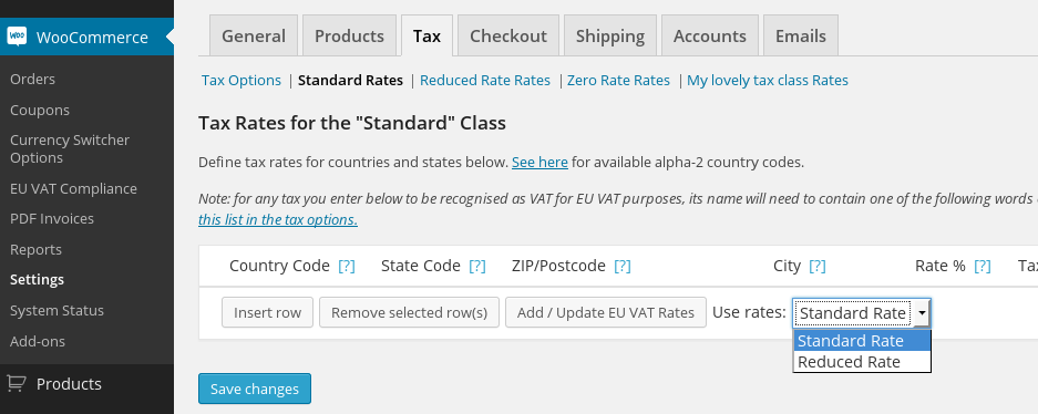 Adding VAT rates quickly and easily