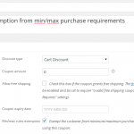 Creating an exemption coupon