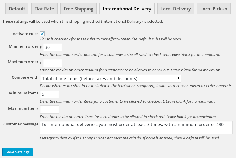 Setting up minimum/maximum purchase rules for a particular shipping method