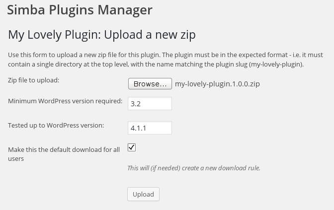 Uploading a new plugin version