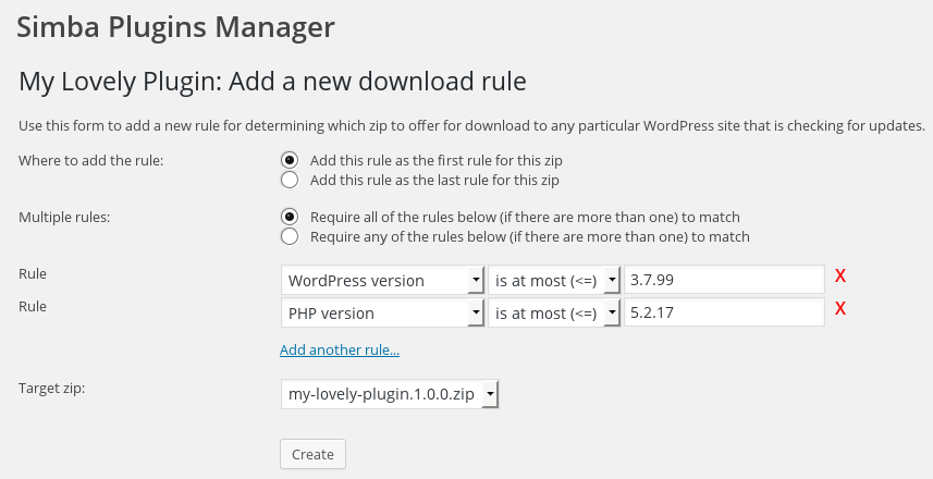 Adding a download rule