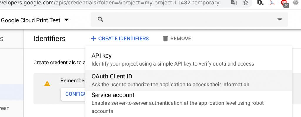 Create OAuth credentials