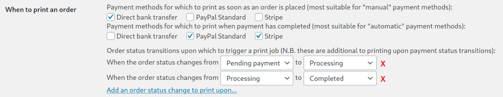 Printing upon an order status change