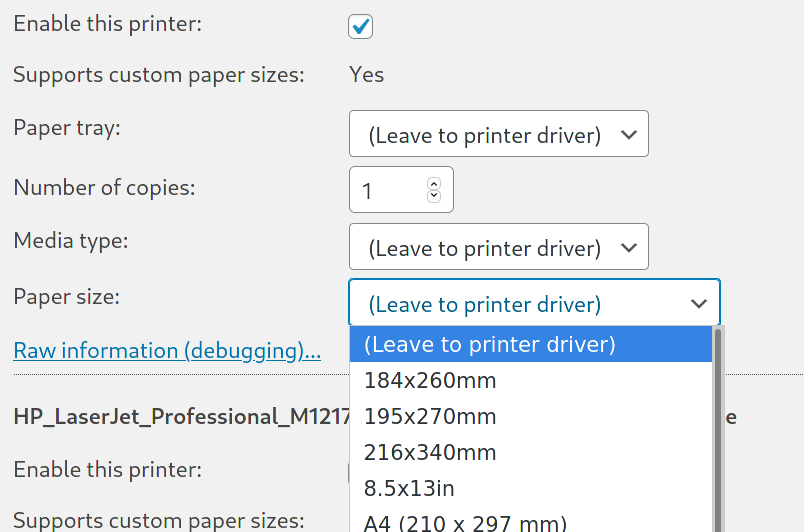 Choosing a paper size