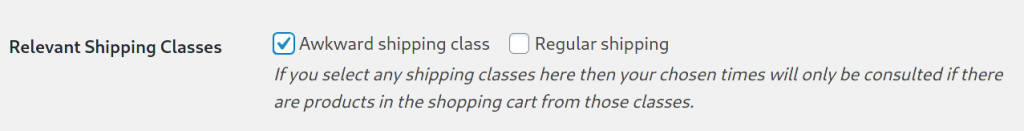Shipping class settings