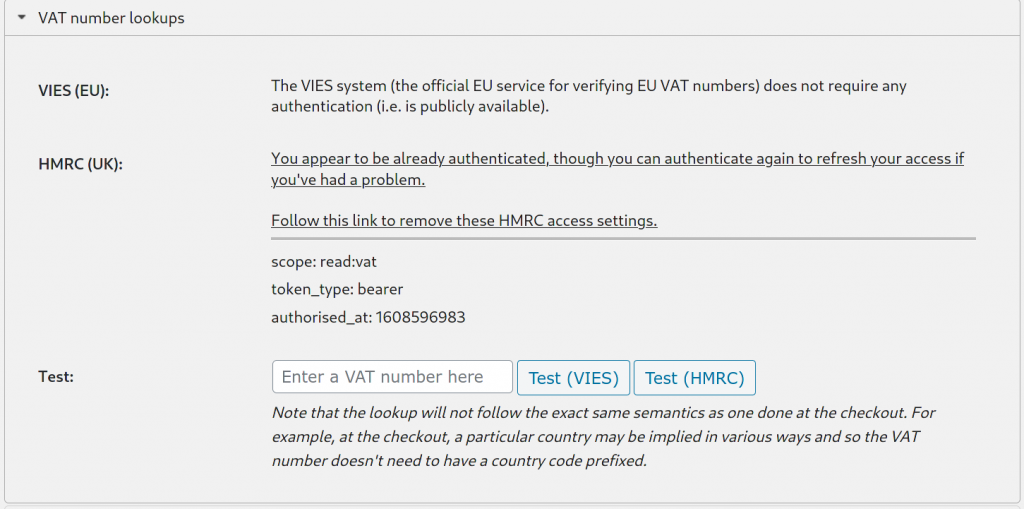 VAT number lookups