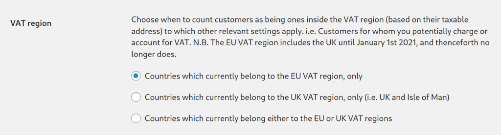 VAT region setting