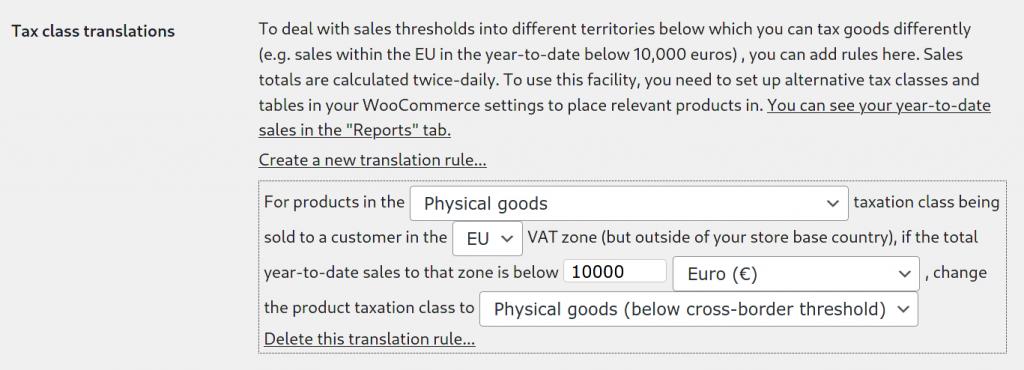 Tax class translation rule