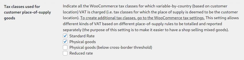 Selecting tax classes